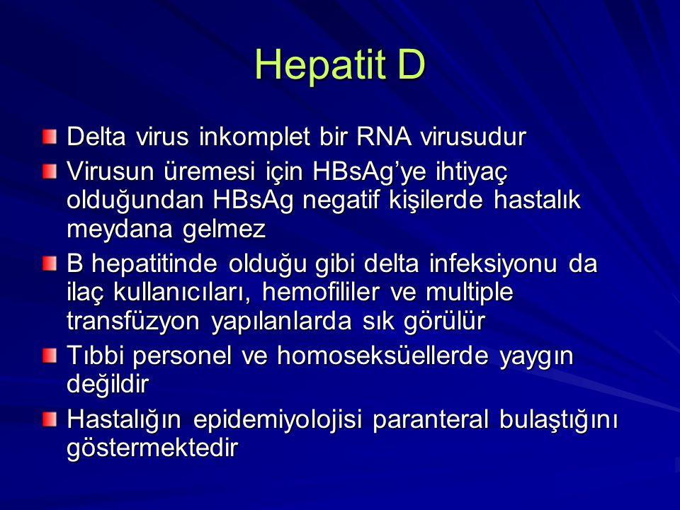Hepatit D Delta virus inkomplet bir RNA virusudur