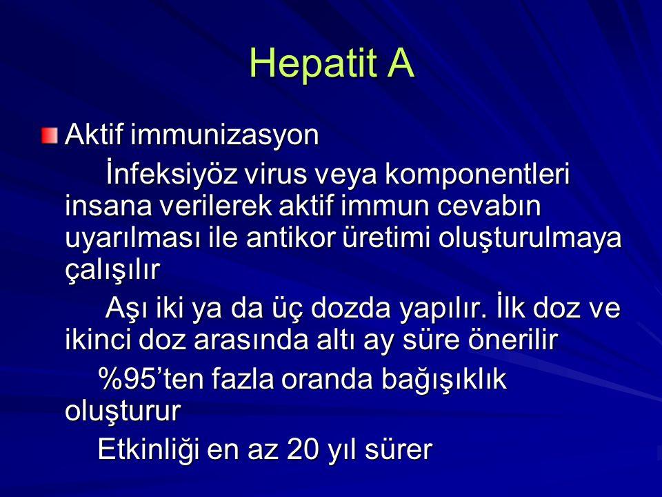 Hepatit A Aktif immunizasyon