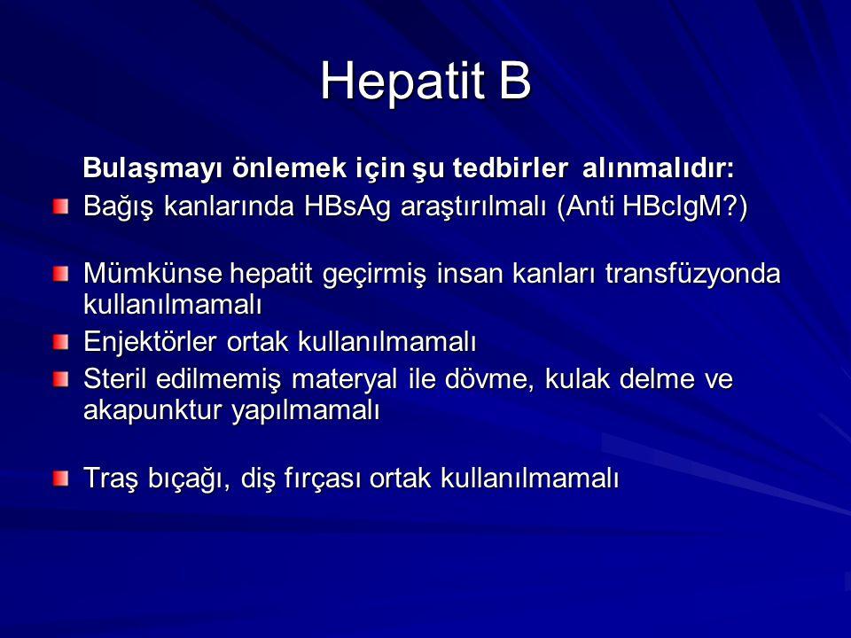 Hepatit B Bulaşmayı önlemek için şu tedbirler alınmalıdır: