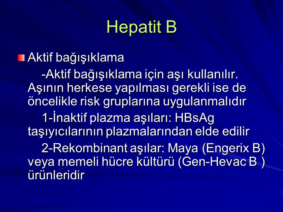 Hepatit B Aktif bağışıklama