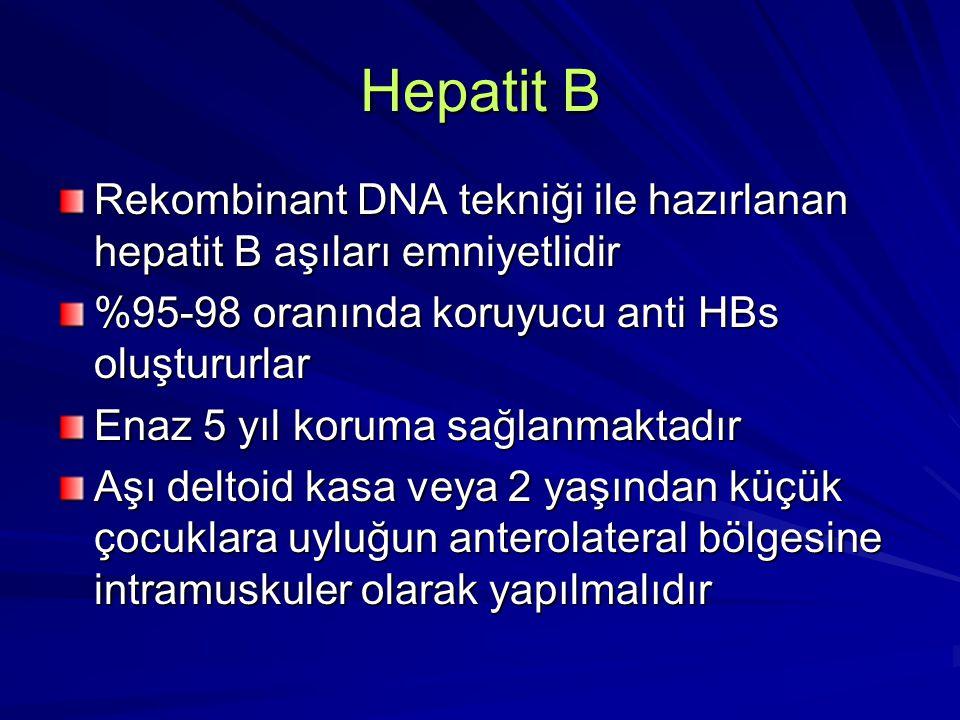 Hepatit B Rekombinant DNA tekniği ile hazırlanan hepatit B aşıları emniyetlidir. %95-98 oranında koruyucu anti HBs oluştururlar.