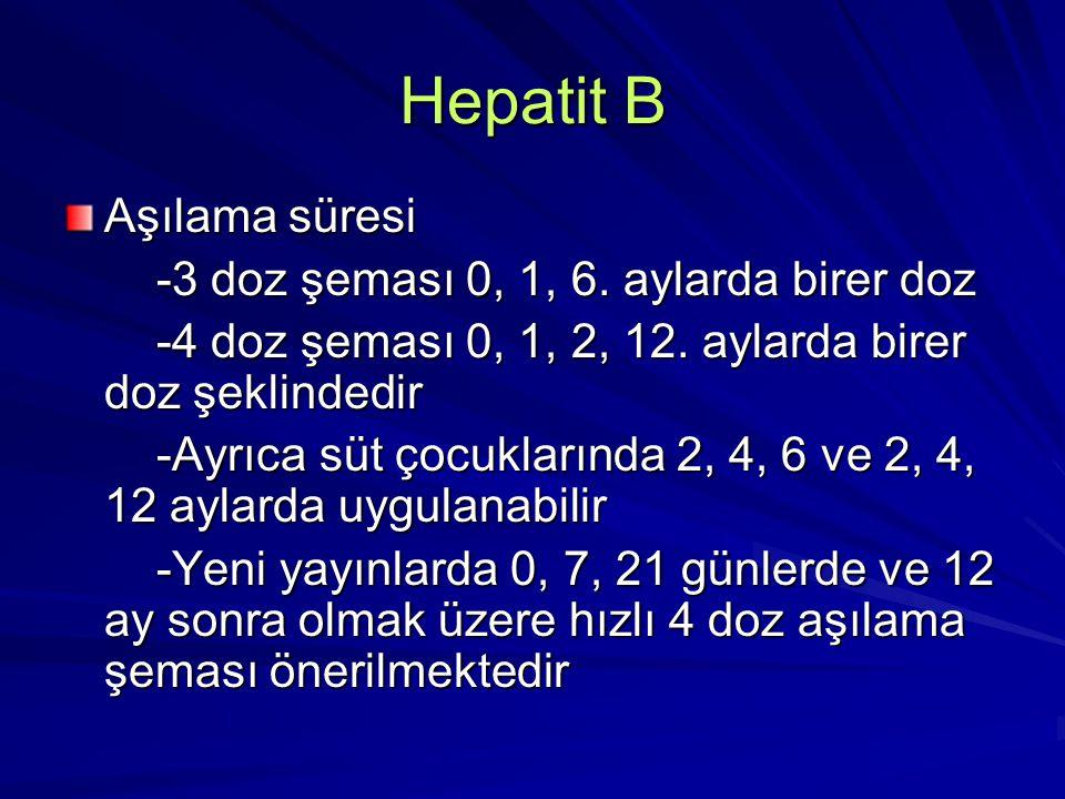 Hepatit B Aşılama süresi -3 doz şeması 0, 1, 6. aylarda birer doz