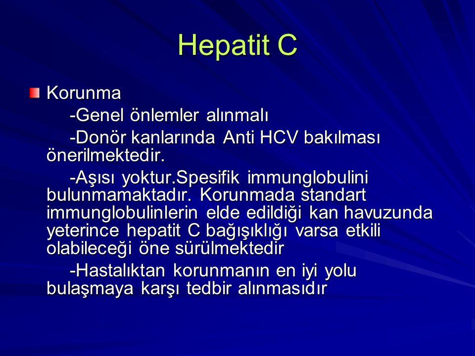 Hepatit C Korunma -Genel önlemler alınmalı