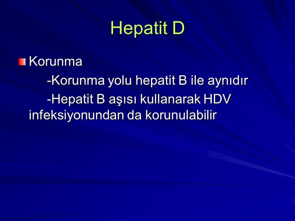 Hepatit D Korunma -Korunma yolu hepatit B ile aynıdır