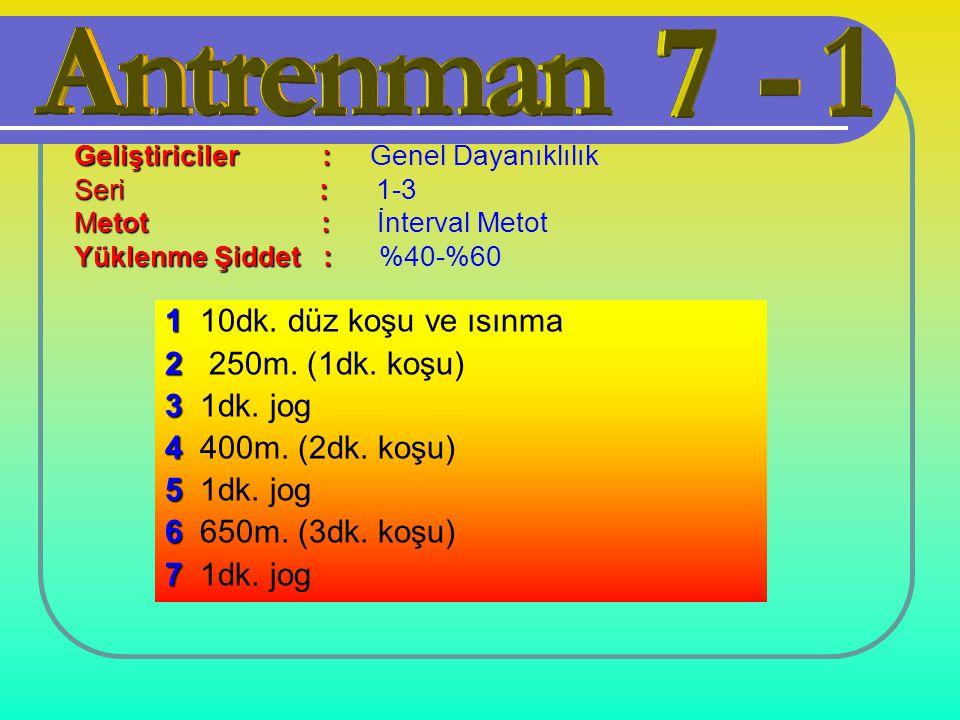 1 10dk. düz koşu ve ısınma 2 250m. (1dk. koşu) 3 1dk. jog