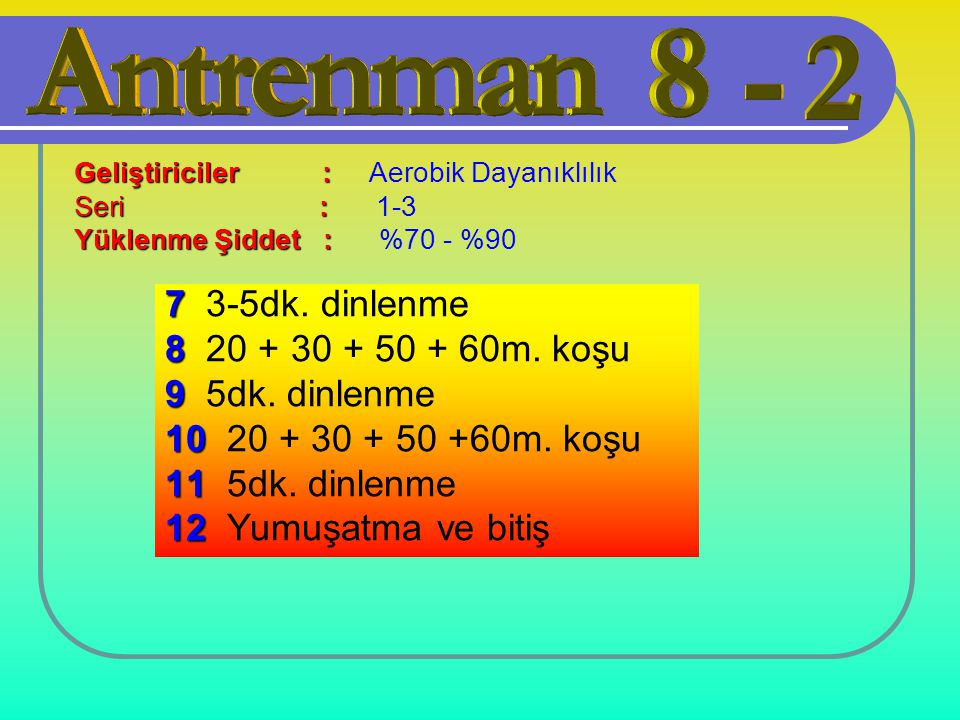 7 3-5dk. dinlenme 8 20 + 30 + 50 + 60m. koşu 9 5dk. dinlenme