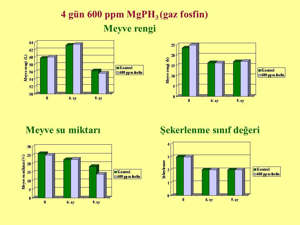 4 gün 600 ppm MgPH3 (gaz fosfin)