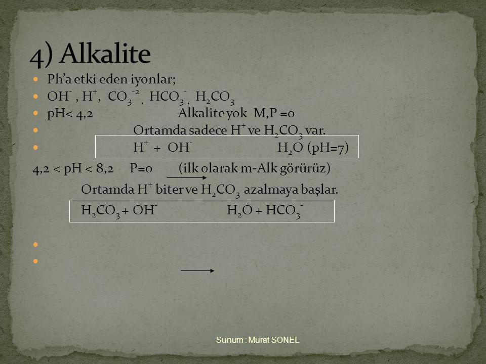 4) Alkalite Ph'a etki eden iyonlar; OH- , H+, CO3-2 , HCO3-, H2CO3