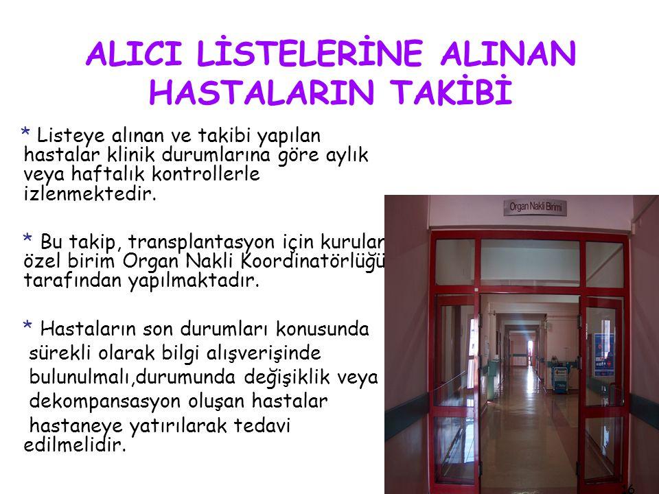 ALICI LİSTELERİNE ALINAN HASTALARIN TAKİBİ