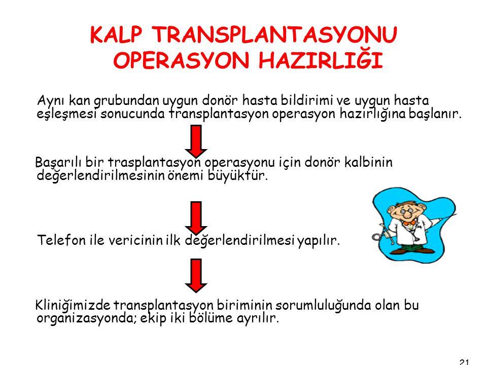 KALP TRANSPLANTASYONU OPERASYON HAZIRLIĞI