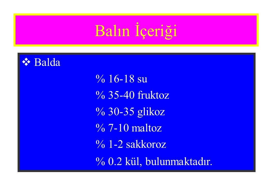 Balın İçeriği Balda % 16-18 su % 35-40 fruktoz % 30-35 glikoz