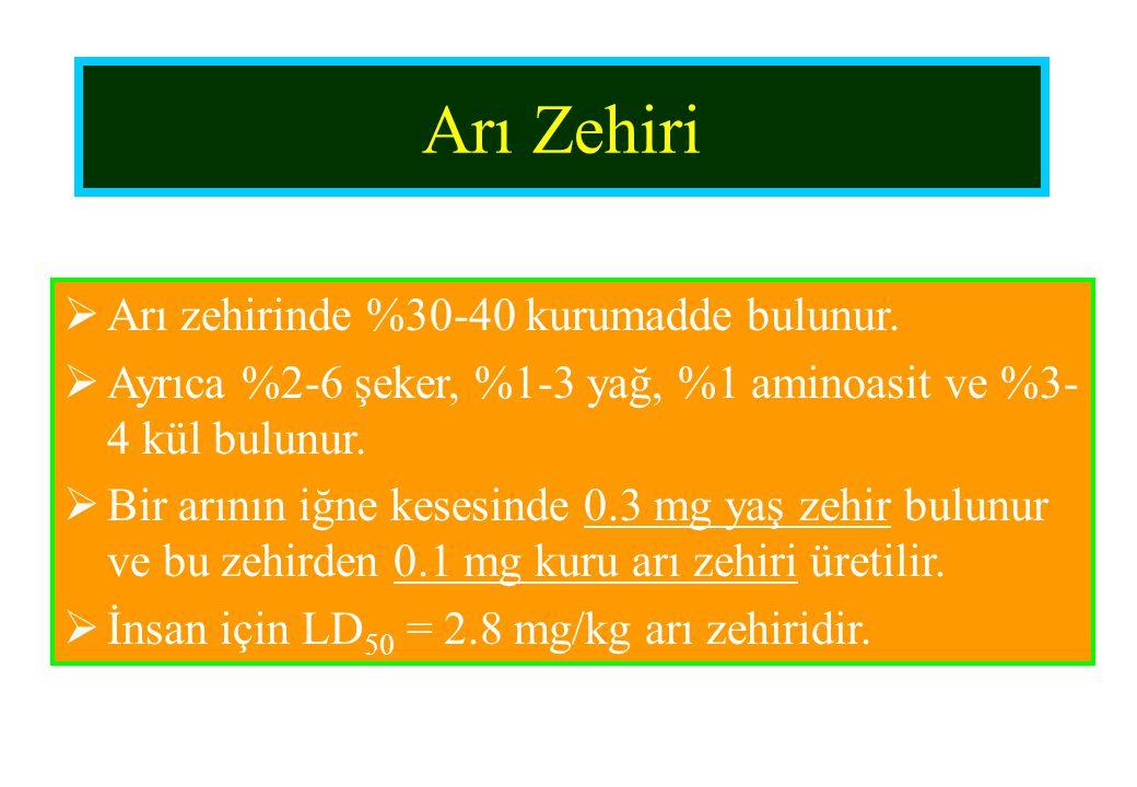 Arı Zehiri Arı zehirinde %30-40 kurumadde bulunur.