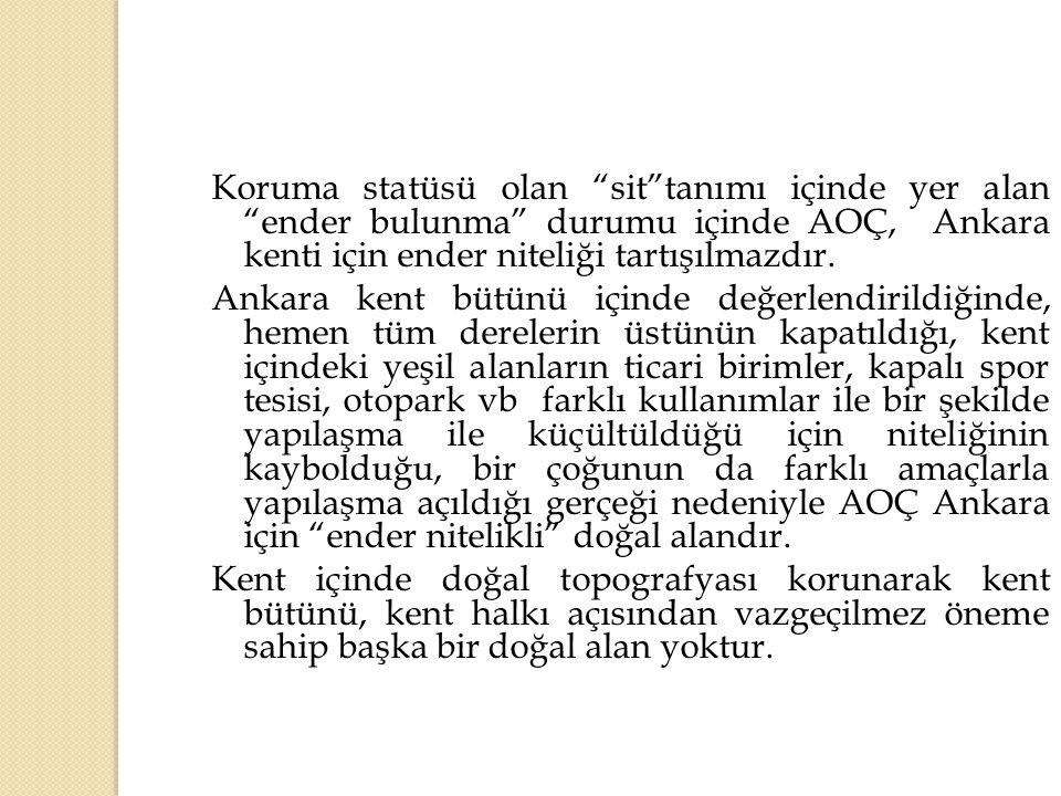 Koruma statüsü olan sit tanımı içinde yer alan ender bulunma durumu içinde AOÇ, Ankara kenti için ender niteliği tartışılmazdır.