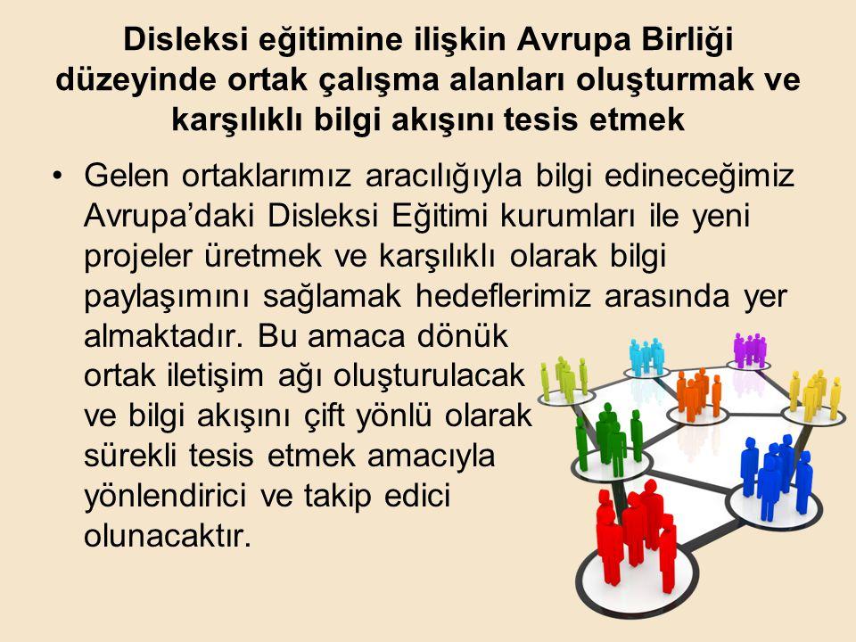Disleksi eğitimine ilişkin Avrupa Birliği düzeyinde ortak çalışma alanları oluşturmak ve karşılıklı bilgi akışını tesis etmek