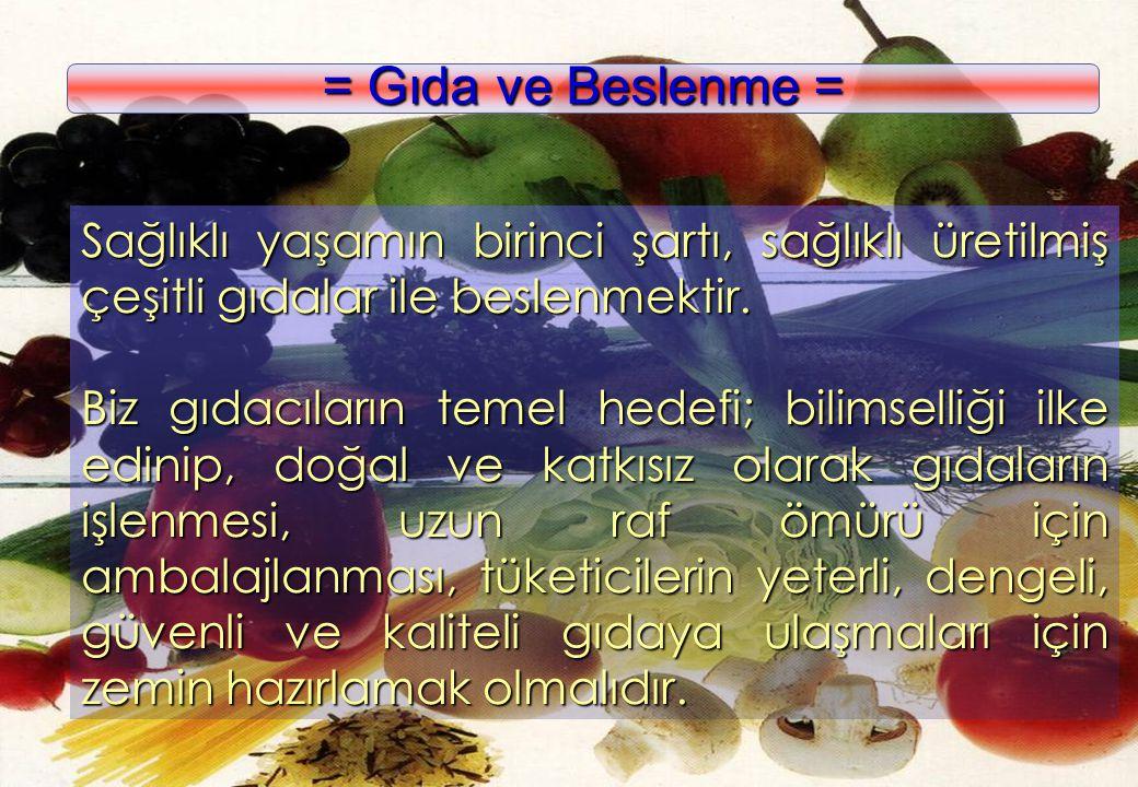 = Gıda ve Beslenme = Sağlıklı yaşamın birinci şartı, sağlıklı üretilmiş çeşitli gıdalar ile beslenmektir.