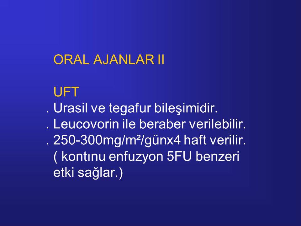ORAL AJANLAR II UFT. Urasil ve tegafur bileşimidir
