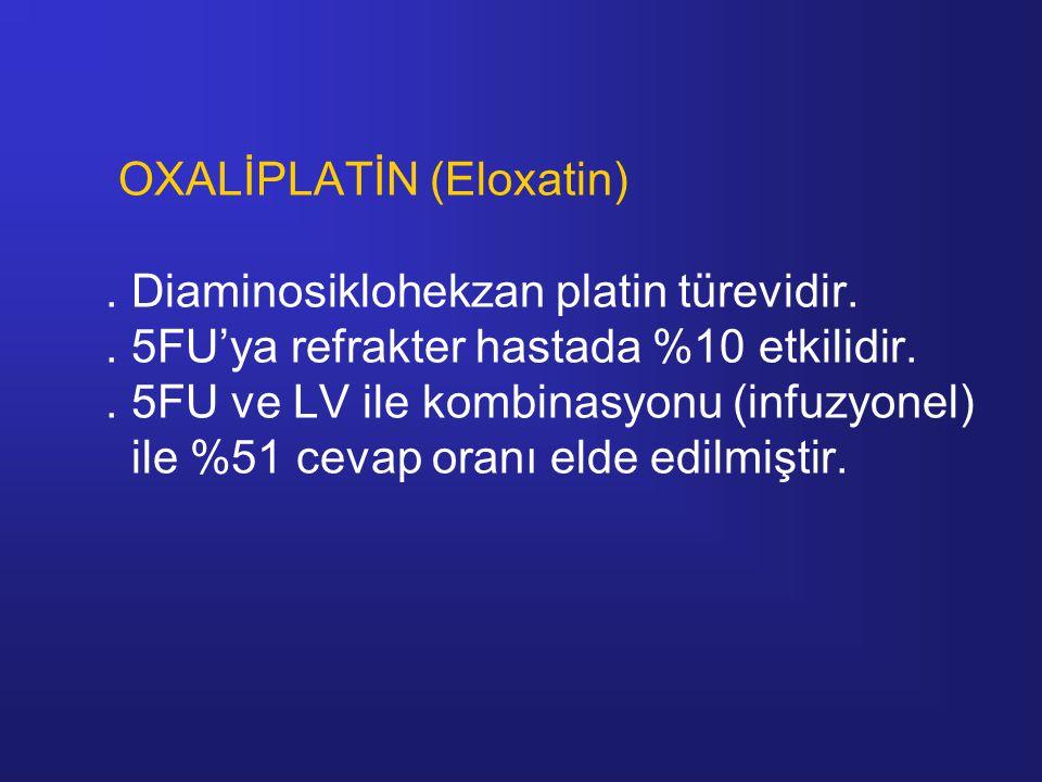 OXALİPLATİN (Eloxatin). Diaminosiklohekzan platin türevidir