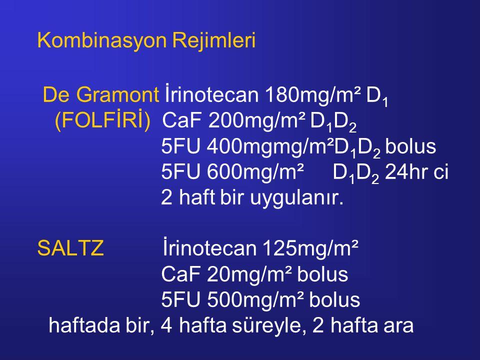 Kombinasyon Rejimleri De Gramont İrinotecan 180mg/m² D1 (FOLFİRİ) CaF 200mg/m² D1D2 5FU 400mgmg/m²D1D2 bolus 5FU 600mg/m² D1D2 24hr ci 2 haft bir uygulanır.