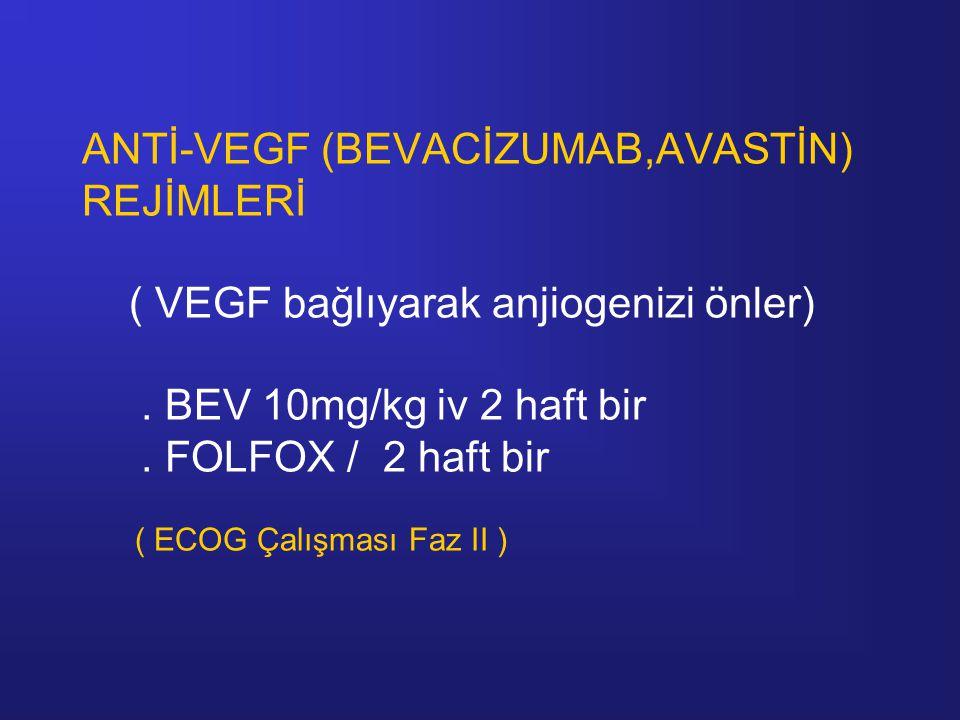 ANTİ-VEGF (BEVACİZUMAB,AVASTİN) REJİMLERİ ( VEGF bağlıyarak anjiogenizi önler) .