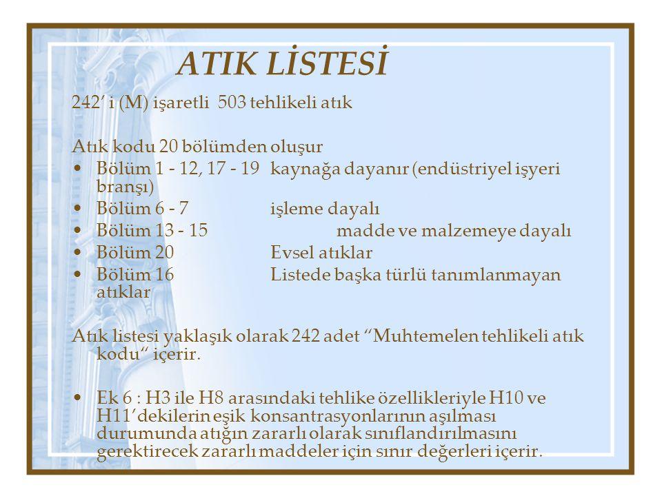 ATIK LİSTESİ 242' i (M) işaretli 503 tehlikeli atık