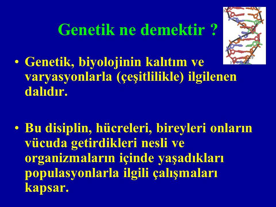 Genetik ne demektir Genetik, biyolojinin kalıtım ve varyasyonlarla (çeşitlilikle) ilgilenen dalıdır.