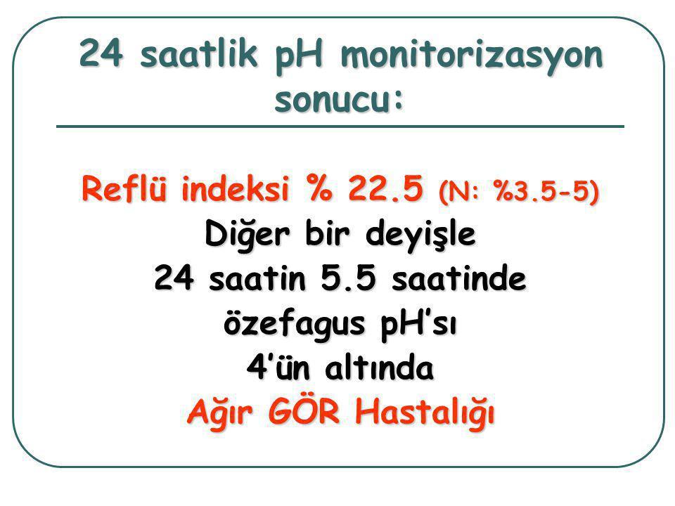 24 saatlik pH monitorizasyon sonucu: