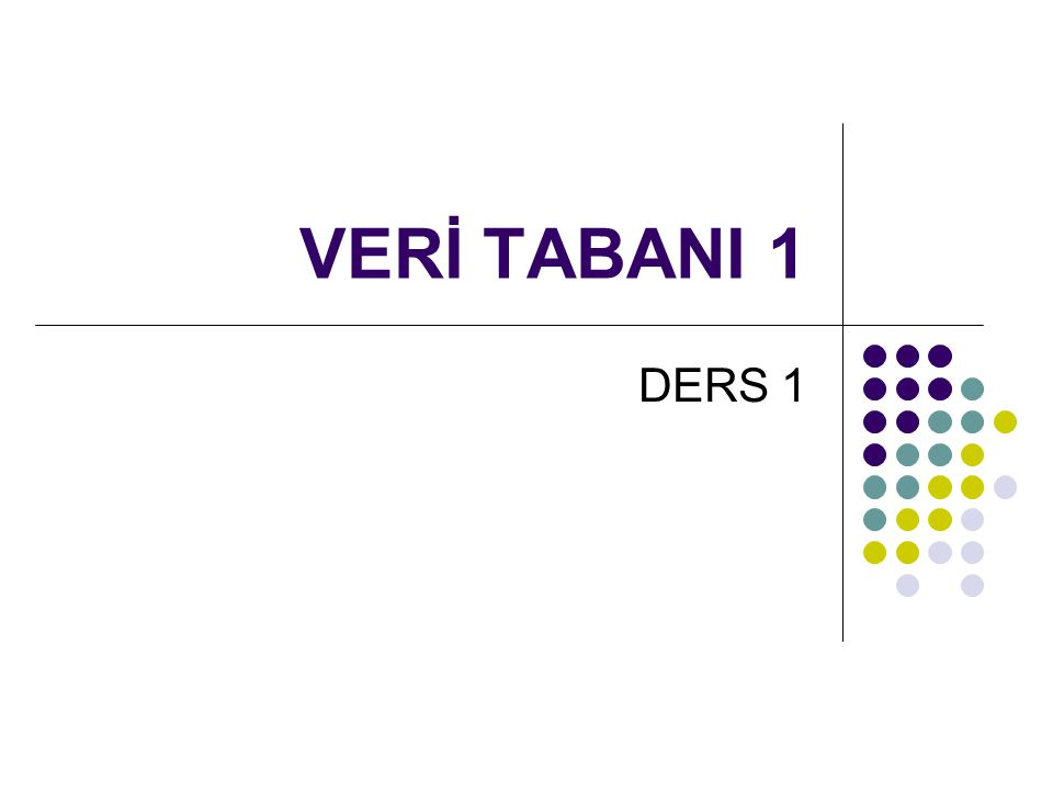 VERİ TABANI 1 DERS 1