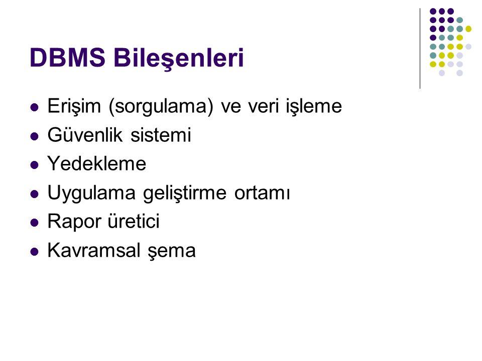 DBMS Bileşenleri Erişim (sorgulama) ve veri işleme Güvenlik sistemi