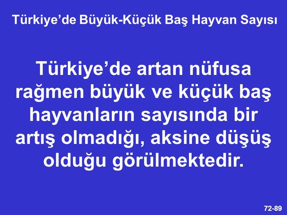 Türkiye'de Büyük-Küçük Baş Hayvan Sayısı