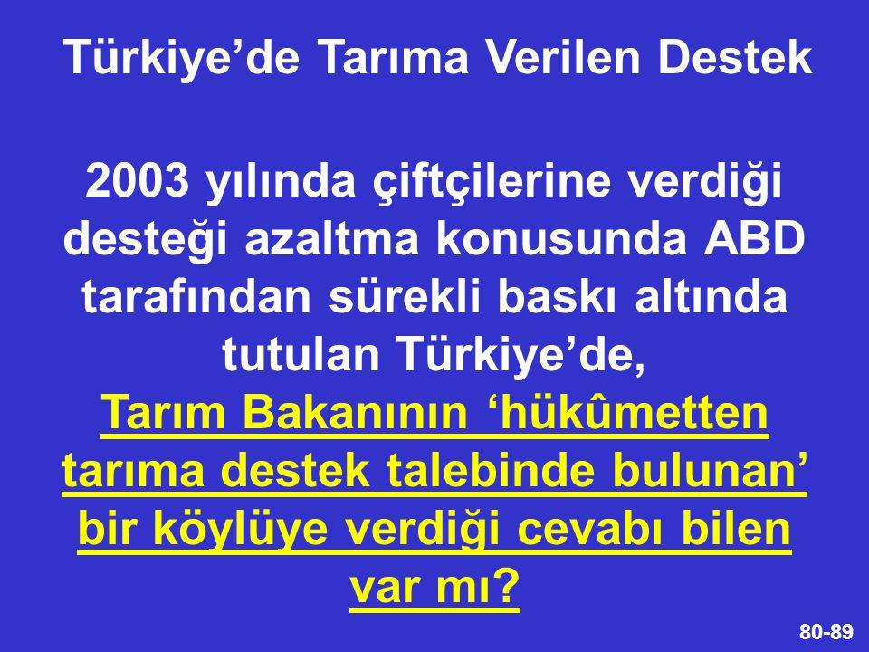 Türkiye'de Tarıma Verilen Destek