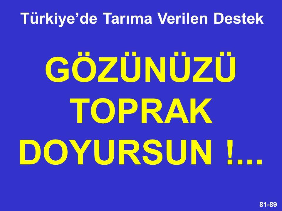 Türkiye'de Tarıma Verilen Destek GÖZÜNÜZÜ TOPRAK DOYURSUN !...