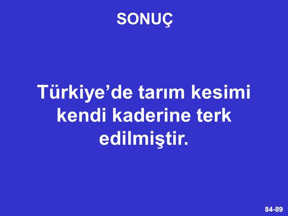 Türkiye'de tarım kesimi kendi kaderine terk edilmiştir.