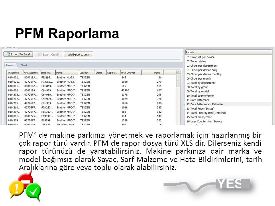 PFM Raporlama
