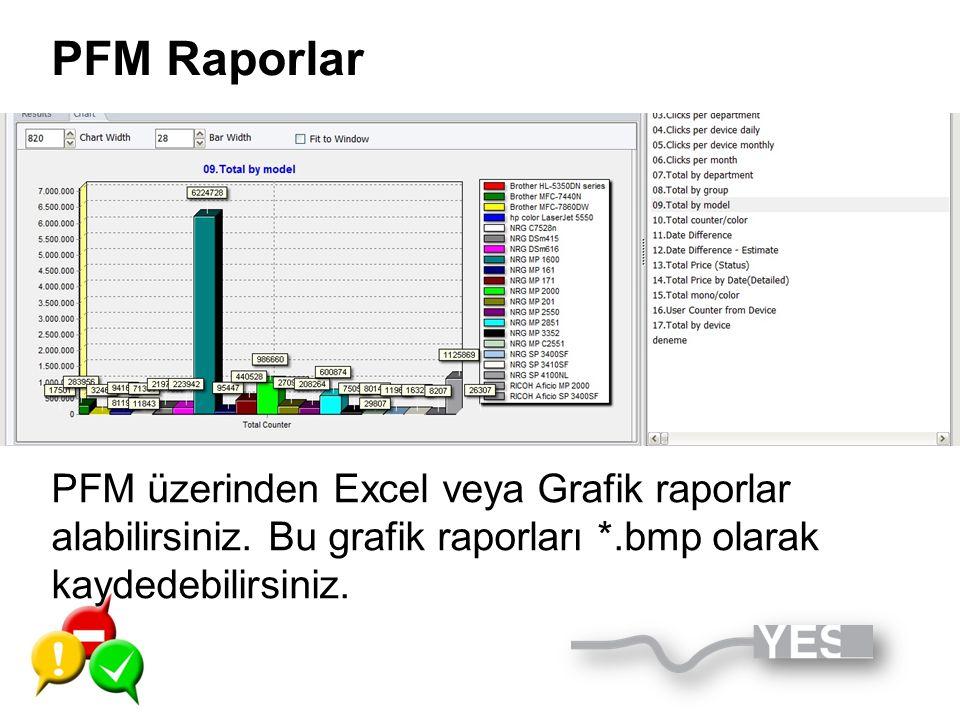 PFM Raporlar PFM üzerinden Excel veya Grafik raporlar alabilirsiniz.