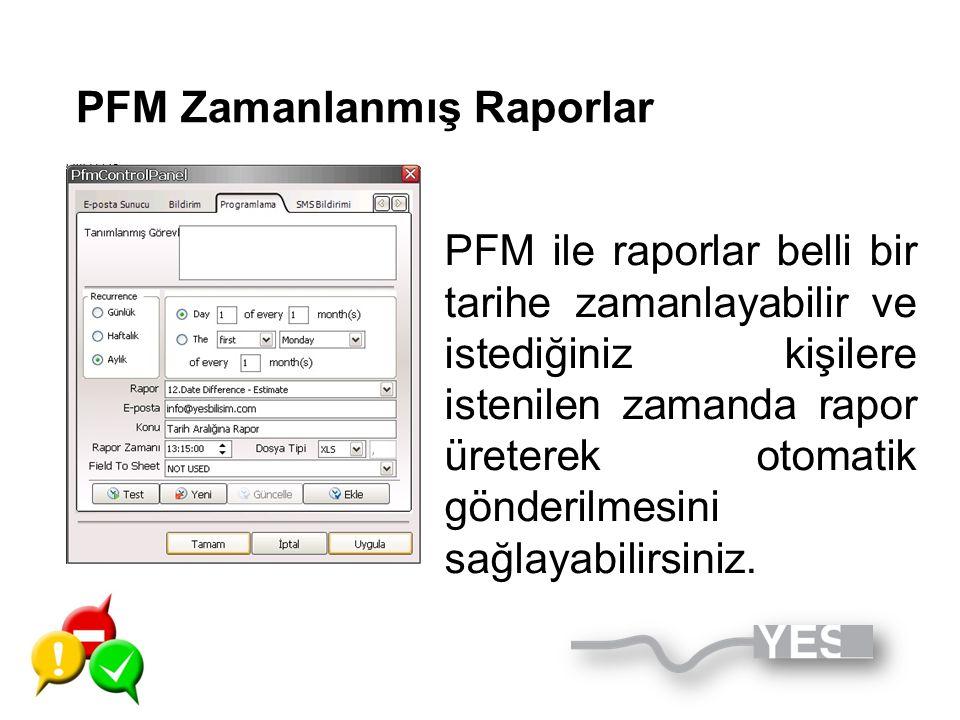 PFM Zamanlanmış Raporlar