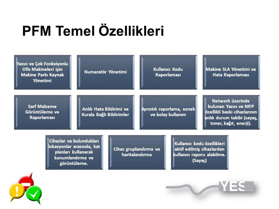 PFM Temel Özellikleri Yazıcı ve Çok Fonksiyonlu Ofis Makineleri için Makine Parkı Kaynak Yönetimi. Numaratör Yönetimi.