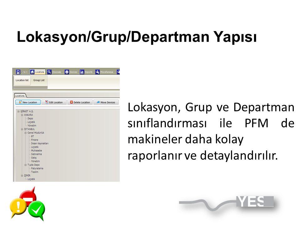 Lokasyon/Grup/Departman Yapısı