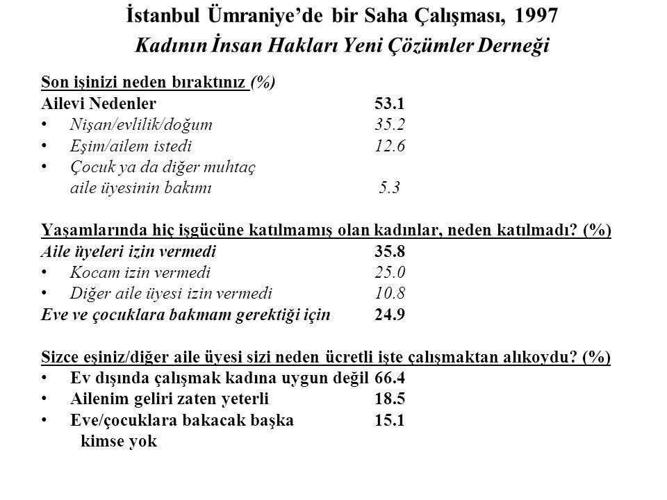 İstanbul Ümraniye'de bir Saha Çalışması, 1997 Kadının İnsan Hakları Yeni Çözümler Derneği