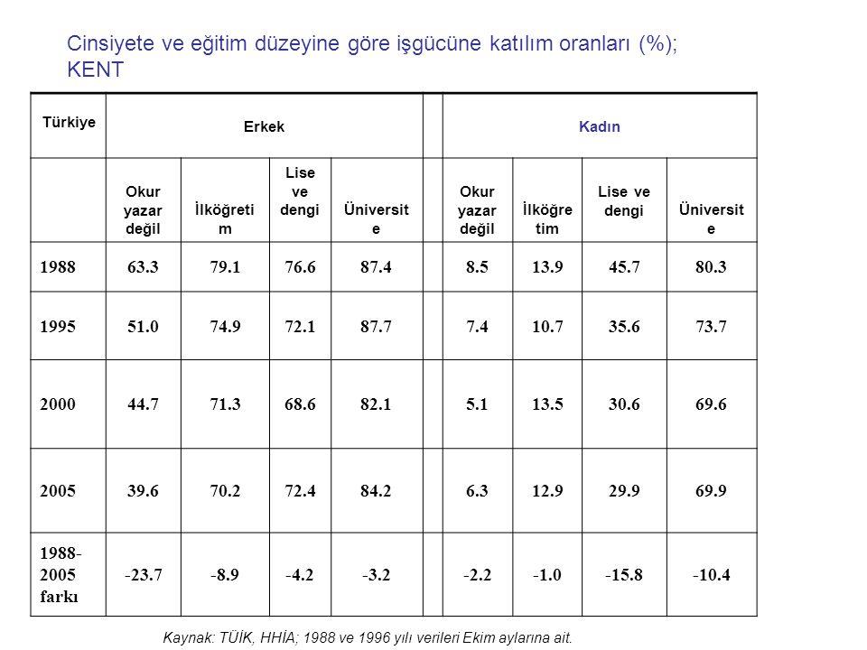 Cinsiyete ve eğitim düzeyine göre işgücüne katılım oranları (%); KENT
