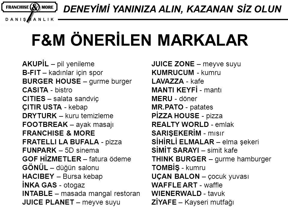 F&M ÖNERİLEN MARKALAR DENEYİMİ YANINIZA ALIN, KAZANAN SİZ OLUN