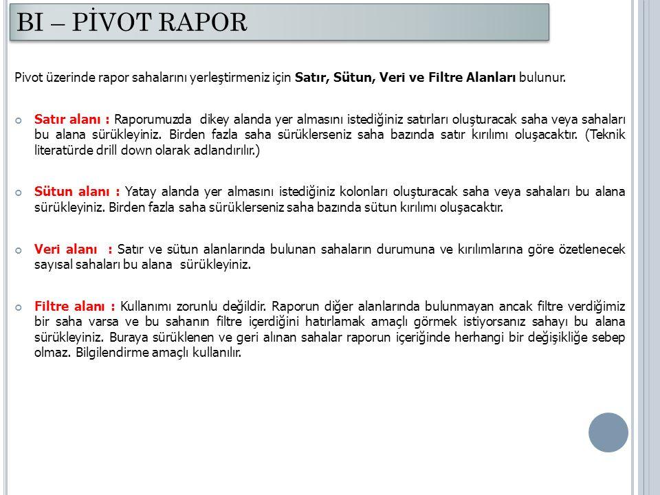 BI – PİVOT RAPOR Pivot üzerinde rapor sahalarını yerleştirmeniz için Satır, Sütun, Veri ve Filtre Alanları bulunur.