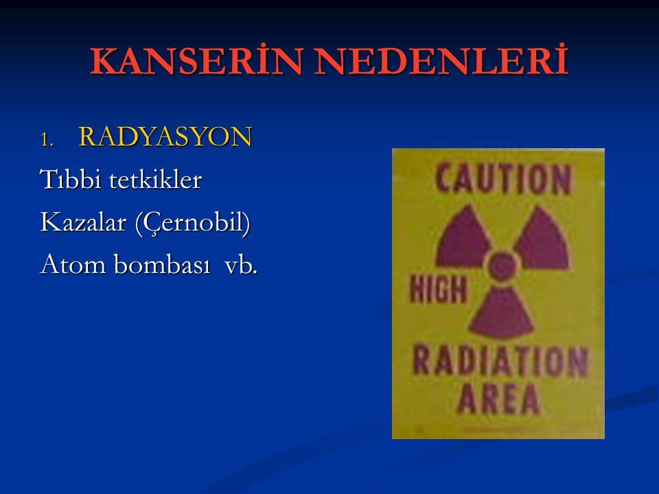 KANSERİN NEDENLERİ RADYASYON Tıbbi tetkikler Kazalar (Çernobil)