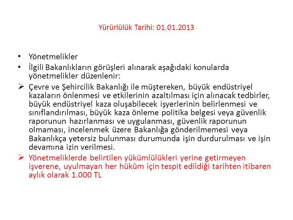 Yürürlülük Tarihi: 01.01.2013 Yönetmelikler. İlgili Bakanlıkların görüşleri alınarak aşağıdaki konularda yönetmelikler düzenlenir: