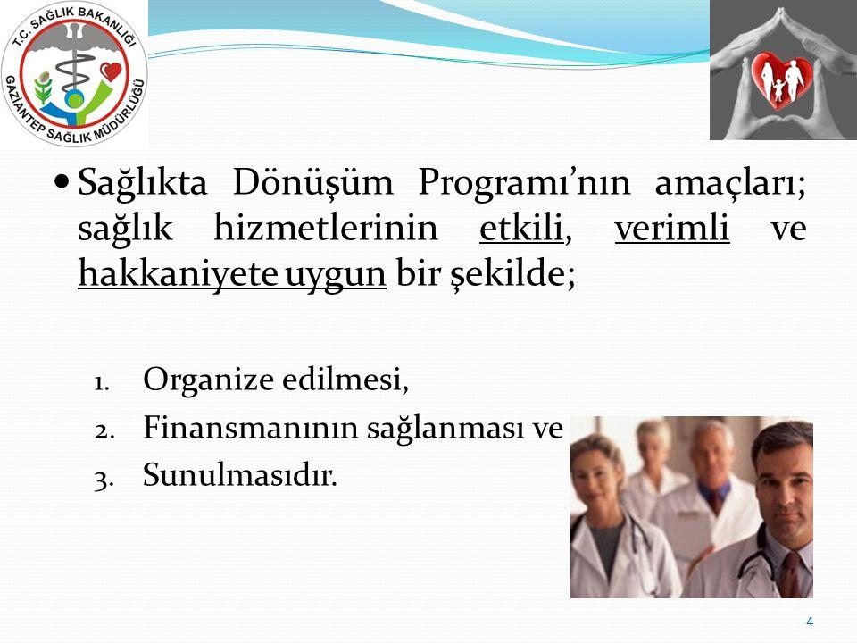 Sağlıkta Dönüşüm Programı'nın amaçları; sağlık hizmetlerinin etkili, verimli ve hakkaniyete uygun bir şekilde;
