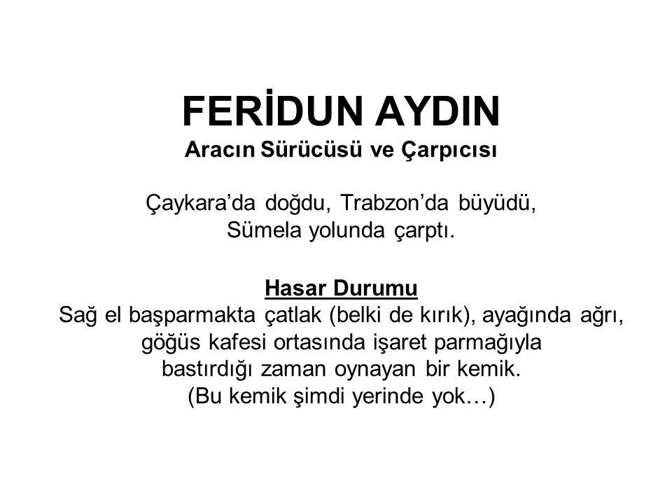 FERİDUN AYDIN Aracın Sürücüsü ve Çarpıcısı Çaykara'da doğdu, Trabzon'da büyüdü, Sümela yolunda çarptı.