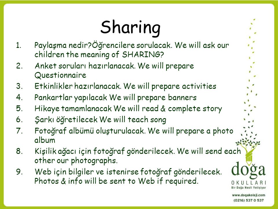 Sharing Paylaşma nedir Öğrencilere sorulacak. We will ask our children the meaning of SHARING