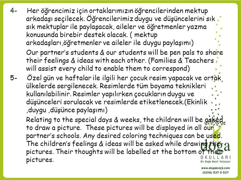 4- Her öğrencimiz için ortaklarımızın öğrencilerinden mektup arkadaşı seçilecek. Öğrencilerimiz duygu ve düşüncelerini sık sık mektuplar ile paylaşacak, aileler ve öğretmenler yazma konusunda birebir destek olacak. ( mektup arkadaşları,öğretmenler ve aileler ile duygu paylaşımı)