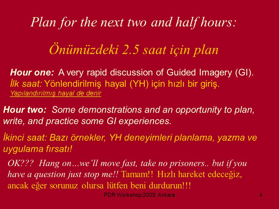 Plan for the next two and half hours: Önümüzdeki 2.5 saat için plan