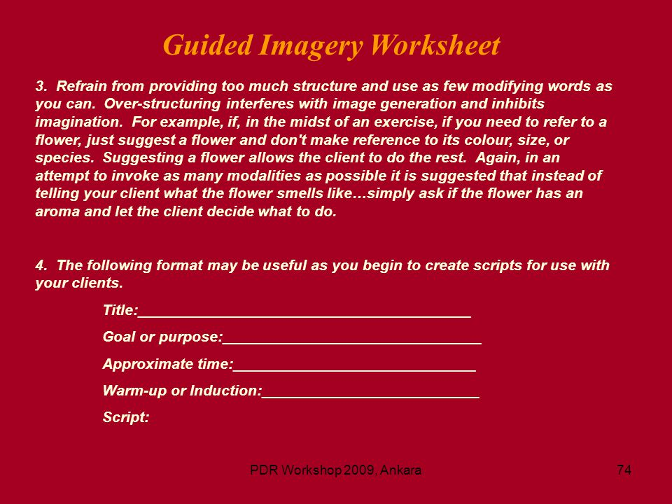 Guided Imagery Worksheet