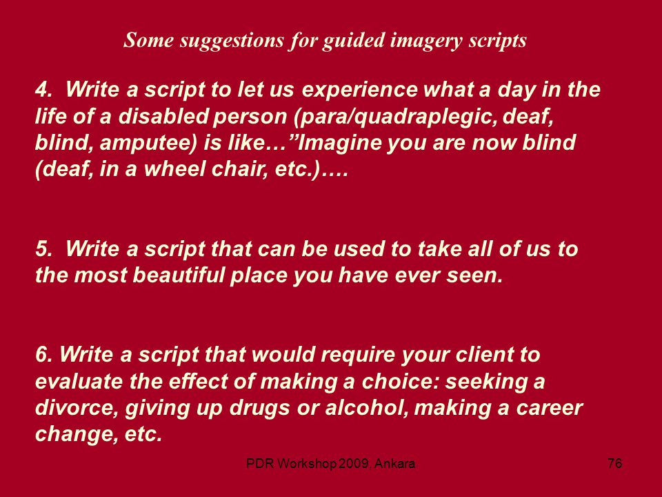 Some suggestions for guided imagery scripts